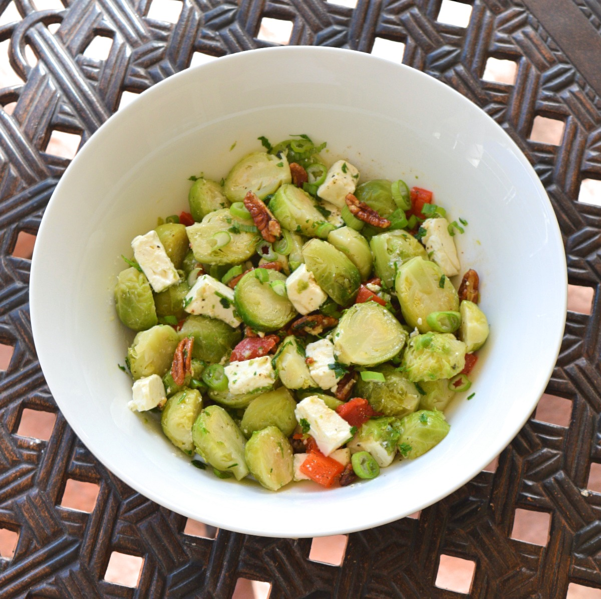 Brussels Sprout Salad with Caramelized Pecans and Roasted Pepper Recipe