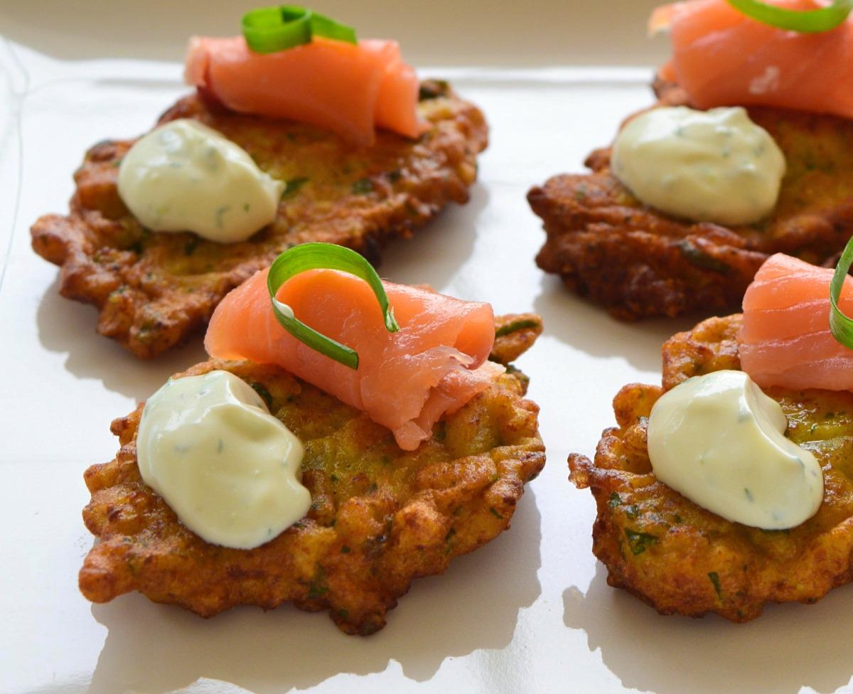 Cauliflower Fritters with Smoked Salmon and Yogurt-Lime Sauce Recipe