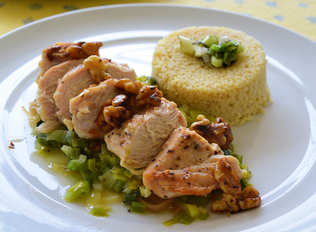 Chicken Breast with Leeks and Caramelized Lemon Peel Recipe