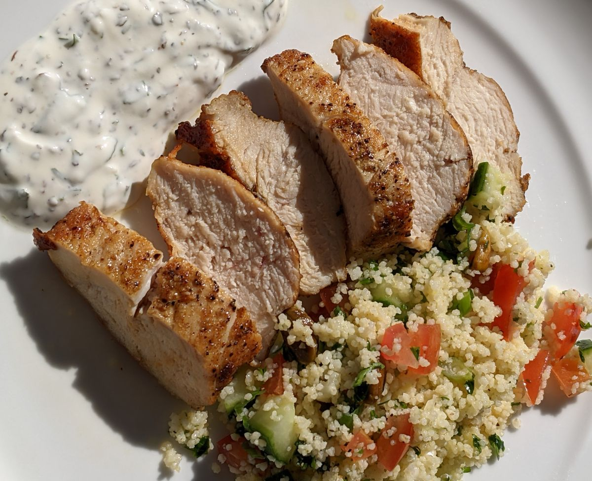 Chicken Breasts with Couscous and Parsley Yogurt Pesto Recipe
