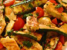 Grilled Zucchini Tomato and Halloumi Salad