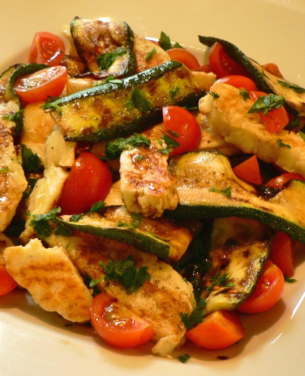 Grilled Zucchini Tomato and Halloumi Salad Recipe