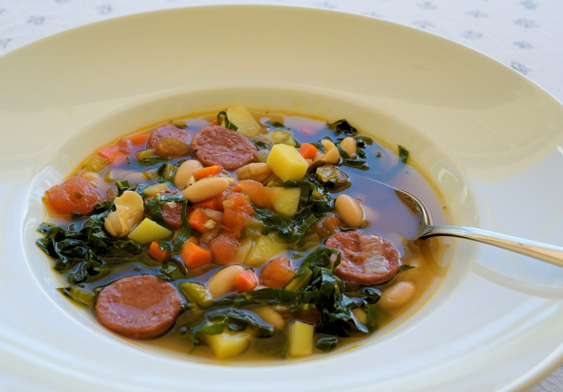 Kale Soup with Cannellini Beans and Chorizo Recipe