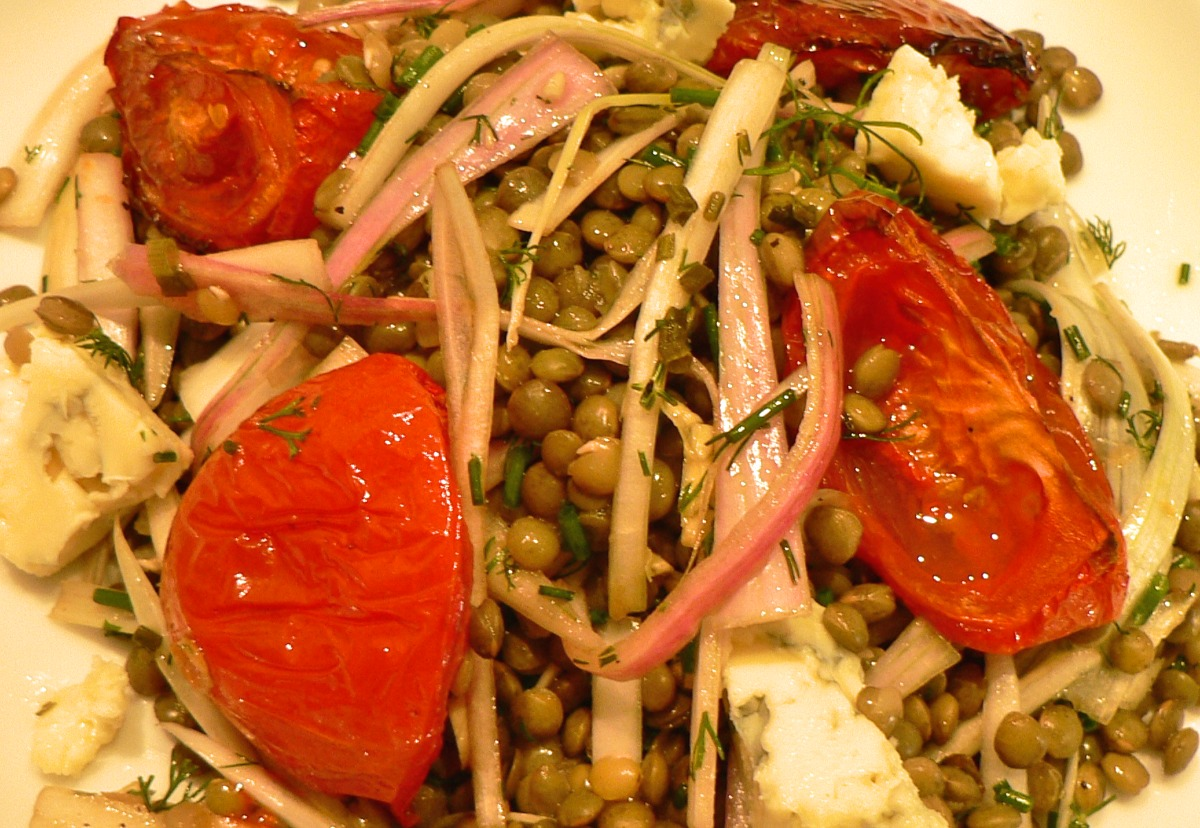 Lentil Salad with Roasted Tomatoes and Gorgonzola Recipe