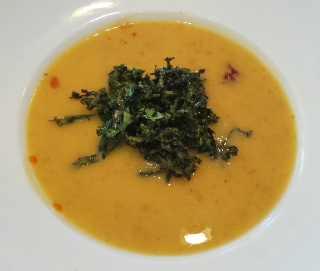 Potato and Chorizo Soup with Roasted Kale Recipe