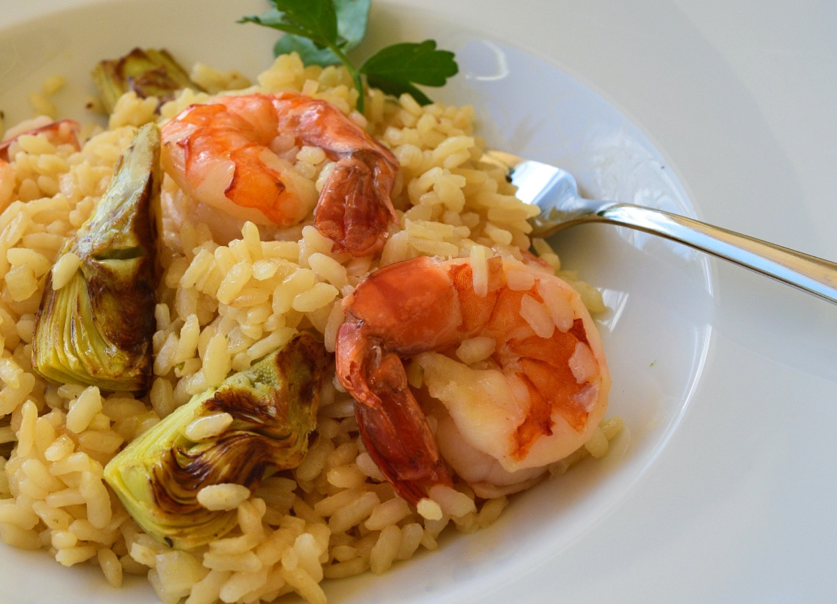 Risotto with Shrimps and Roasted Artichokes Recipe