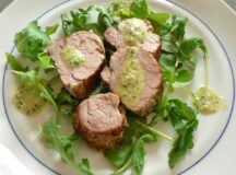 Roasted Pork Tenderloin on Arugula Salad