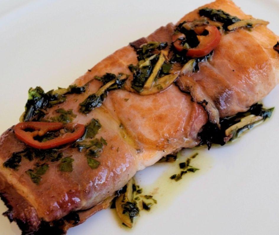 Salmon Fillets wrapped in Serrano Ham Recipe
