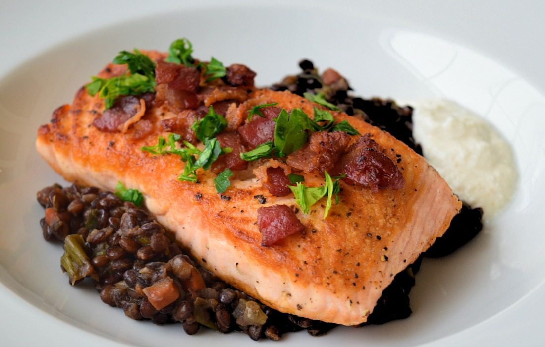 Salmon with Lentils, Bacon and Horseradish Sauce Recipe