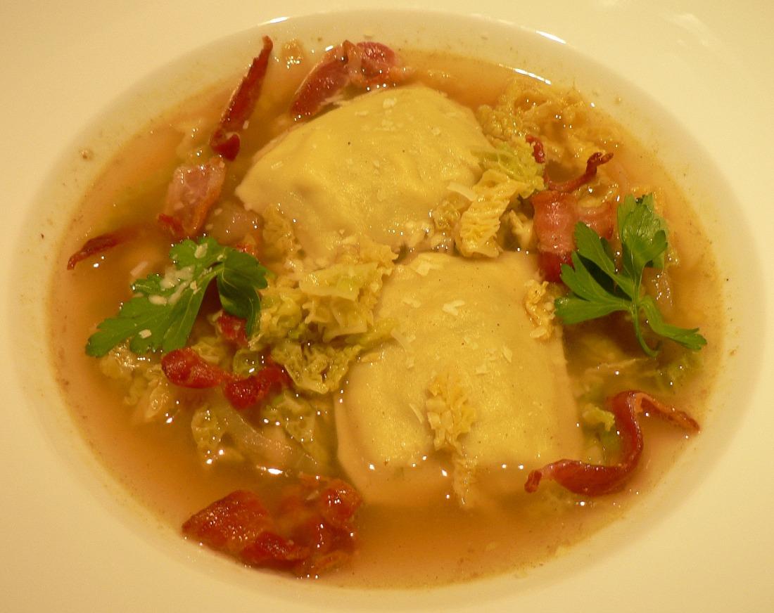Savoy Cabbage Soup with Ravioli Recipe