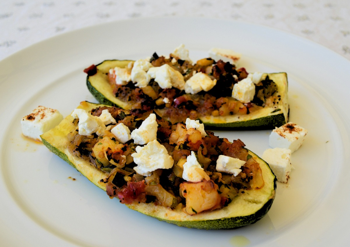 Shrimp and Feta Stuffed Zucchini Boats Recipe