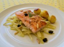 Slow Roasted Salmon with Fennel Capers and Pine Nuts