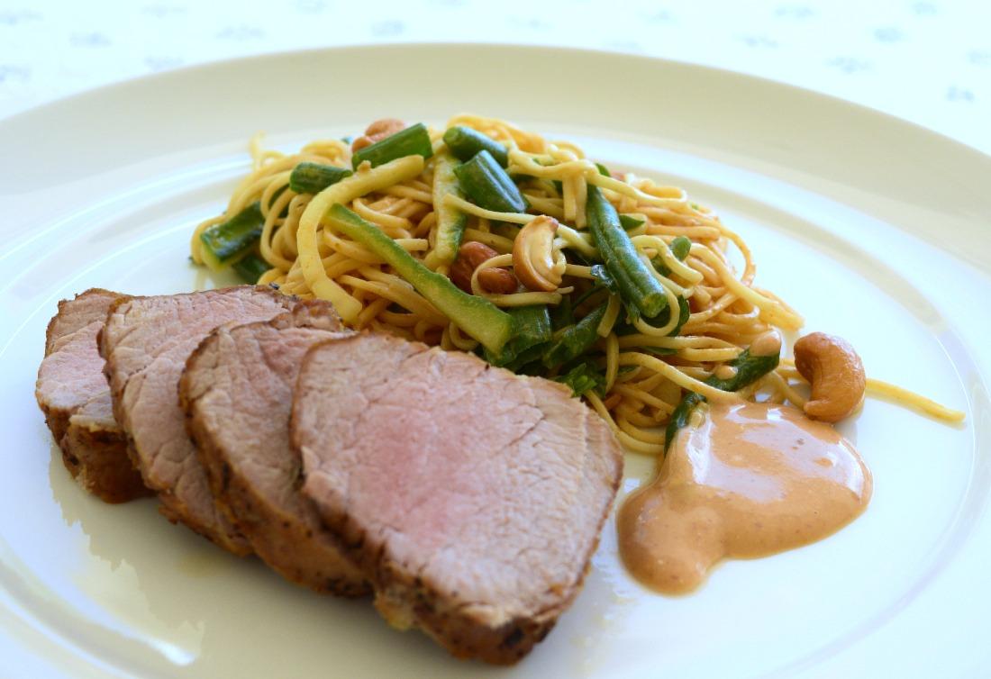 Spicy Pork Tenderloin with Satay Noodle Salad Recipe