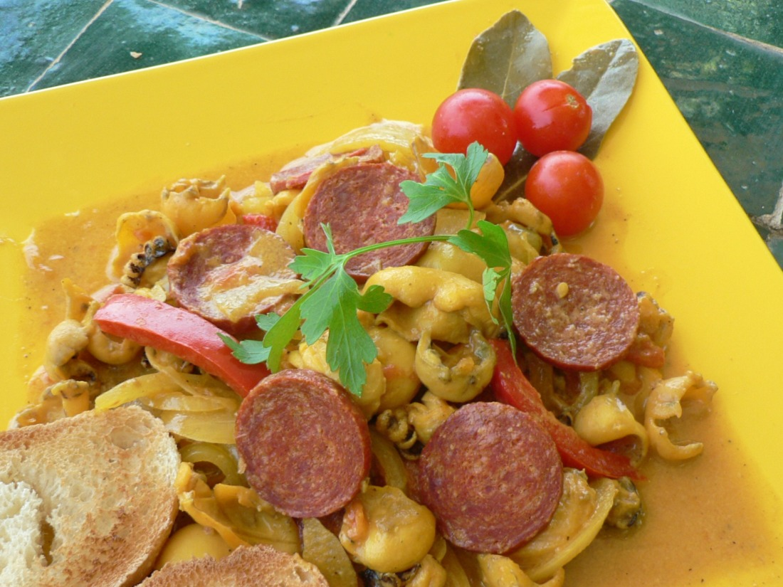 Squids (Calamares) with Chorizos Recipe Recipe