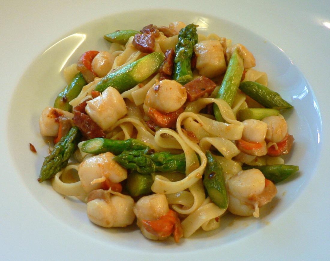 Tagliatelli with Scallops Chorizo and Asparagus Recipe