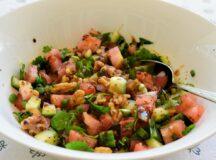 Tomato Cucumber and Walnut Salad