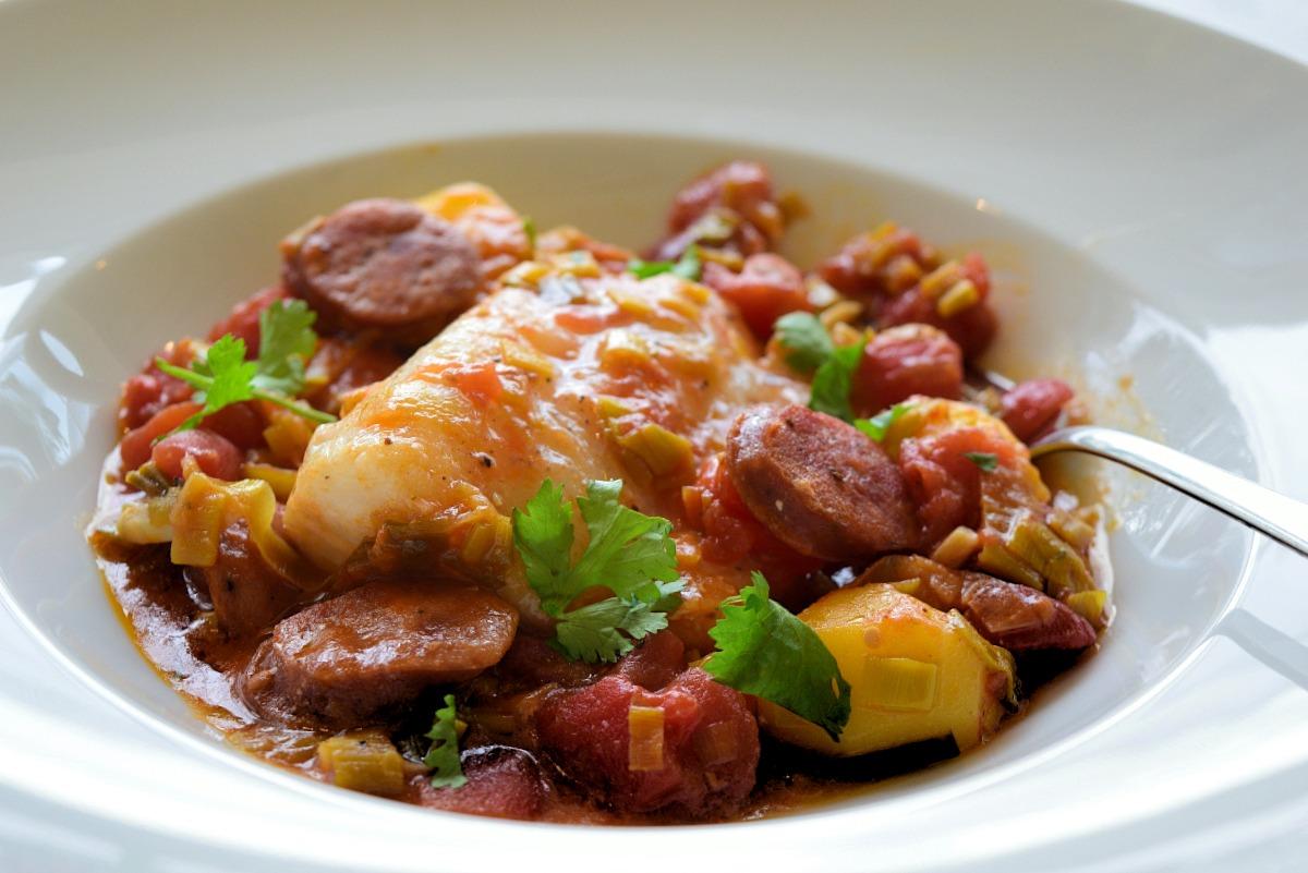 Codfish with Portuguese Linguiça Recipe