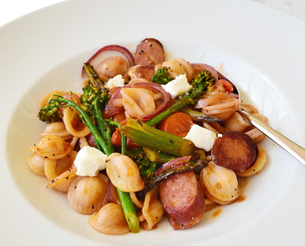 Orecchiette with Roasted Broccolini and Spicy Sausage Recipe