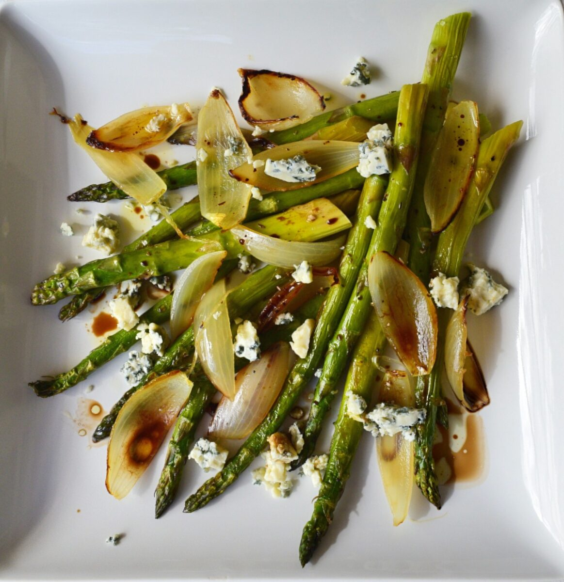 Roasted Onion and Asparagus Salad with Blue Cheese Recipe