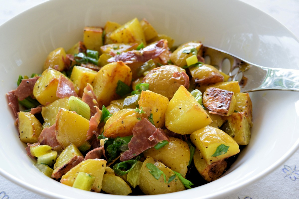 Roasted Potato Salad with Cornichons and Prosciutto Shards Recipe