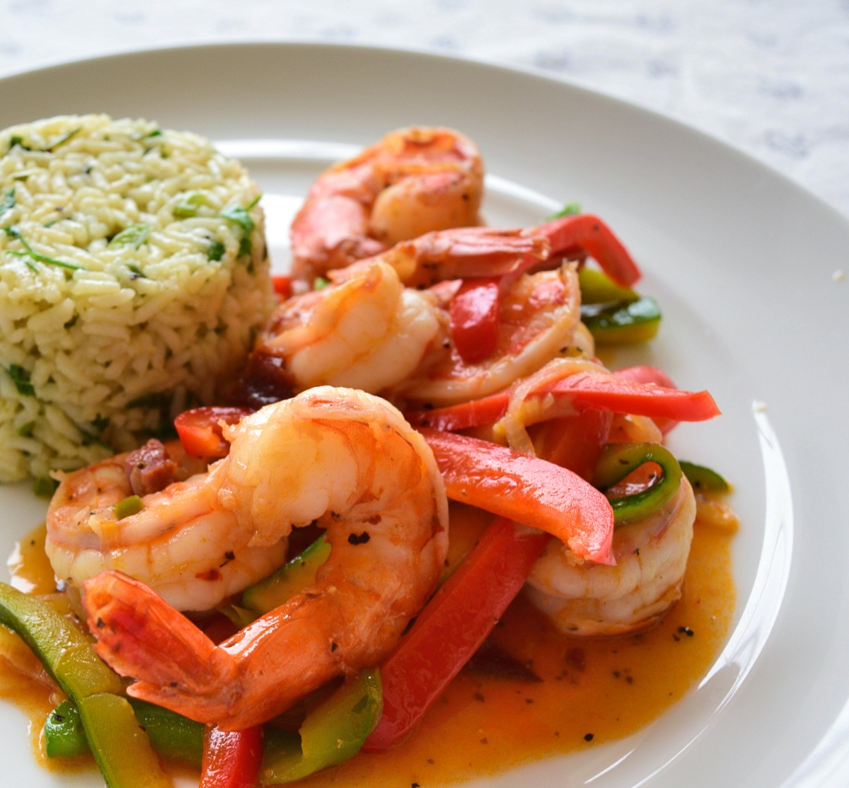 Shrimps in Chiplote Sauce with Zucchini and Chorizo Recipe