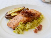 Roasted Salmon with Speck and Leeks
