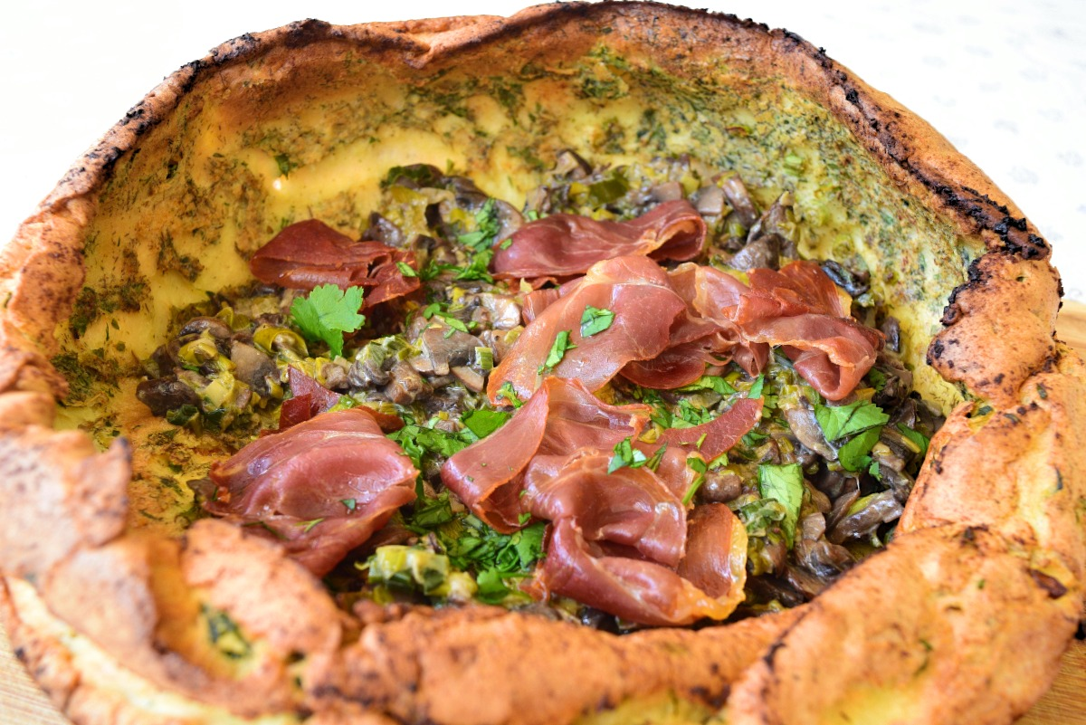 Savory Dutch Baby with Mushrooms, Leeks and Prosciutto Crisps Recipe