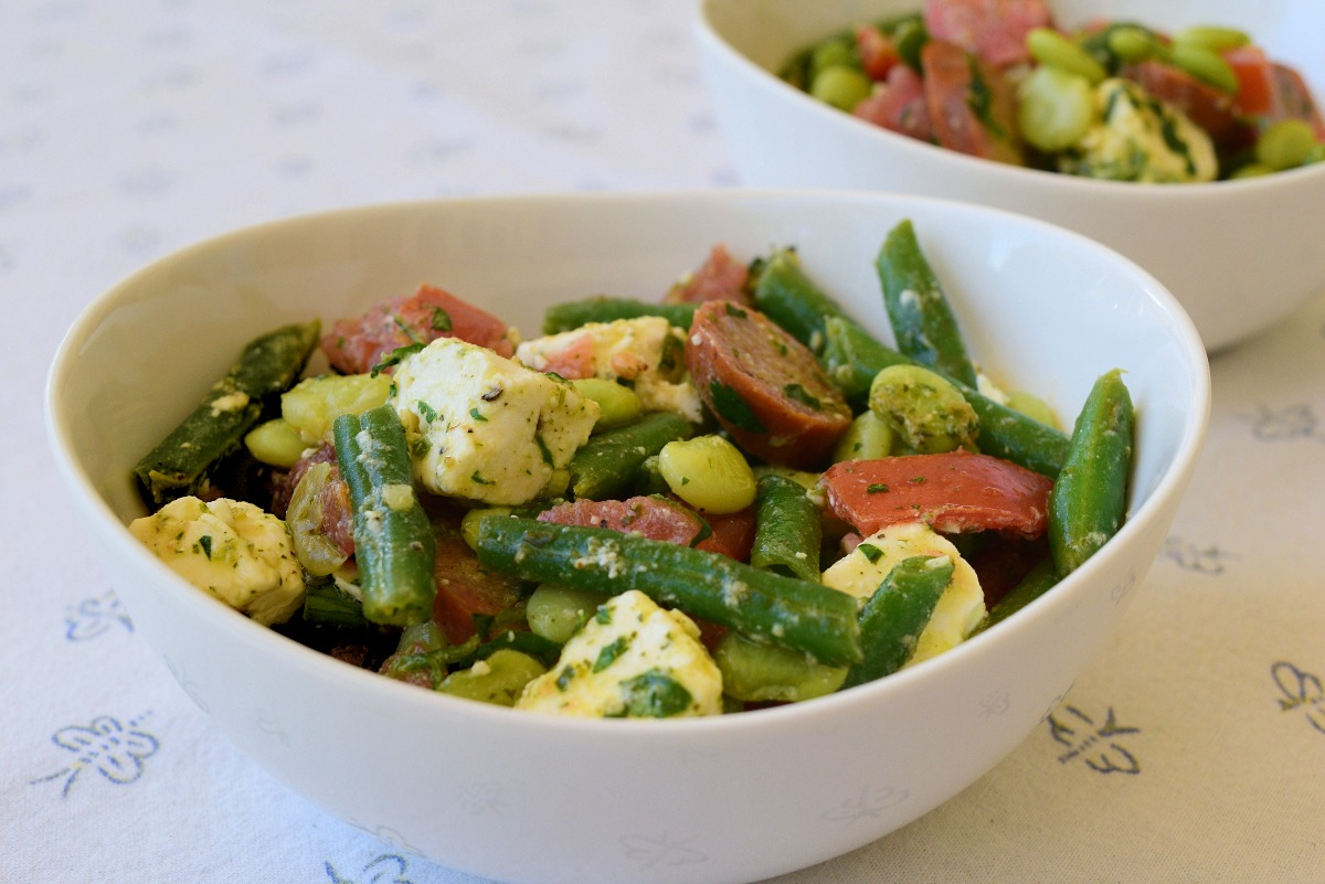 Two Bean Salad with Spicy Sausage Recipe