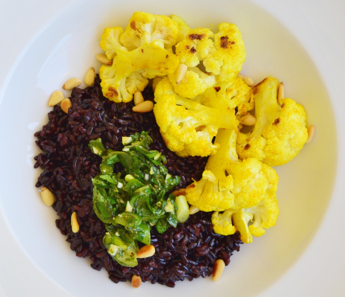 Black Rice with Tumeric Roasted Cauliflower and Salsa Verde Recipe