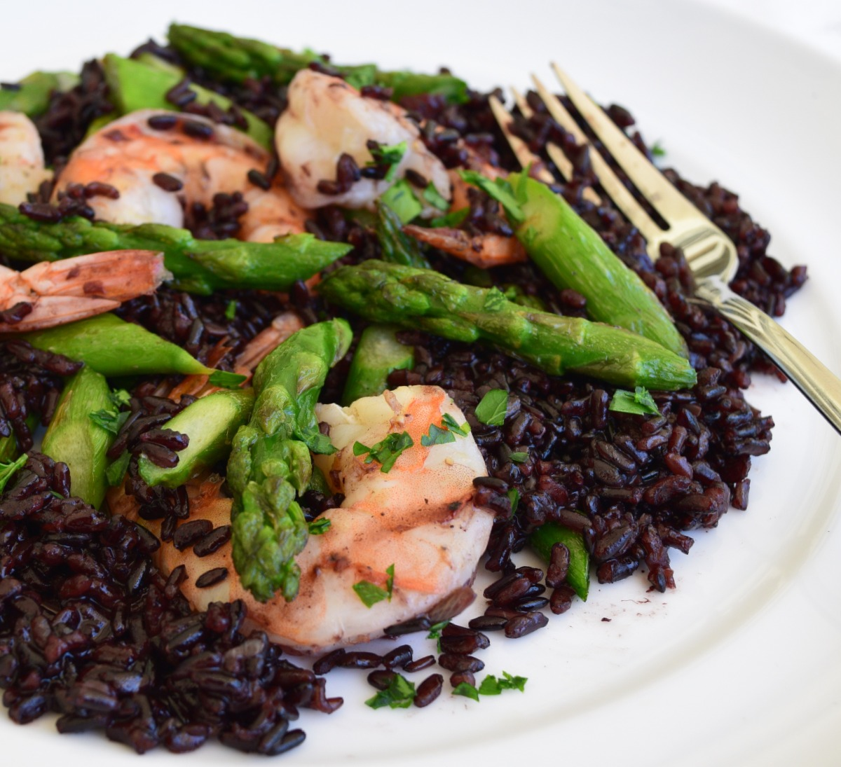 Black Risotto with Asparagus and Shrimps Recipe