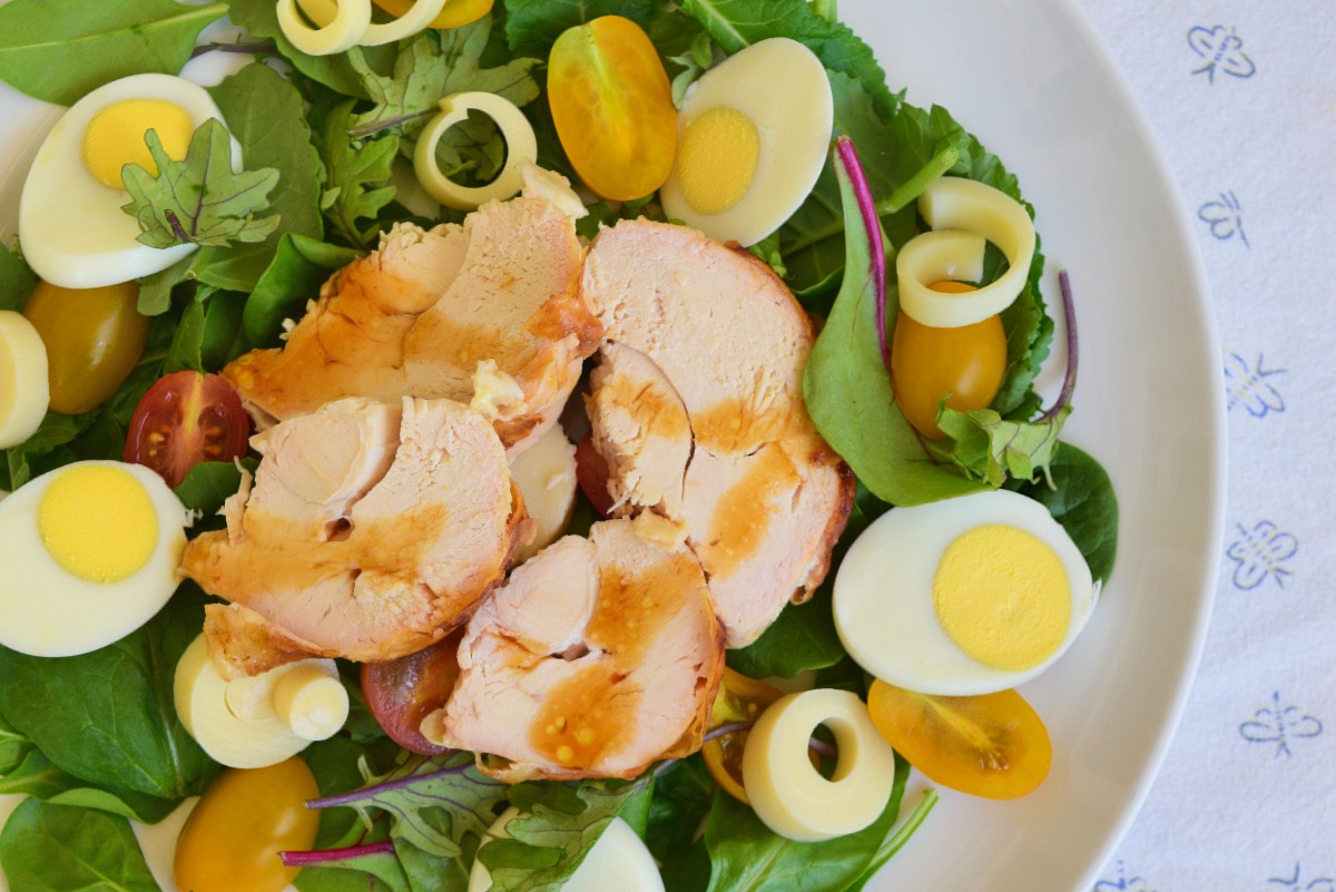 Salad Greens with Roasted Chicken, Hearts of Palm and Miso Dressing Recipe
