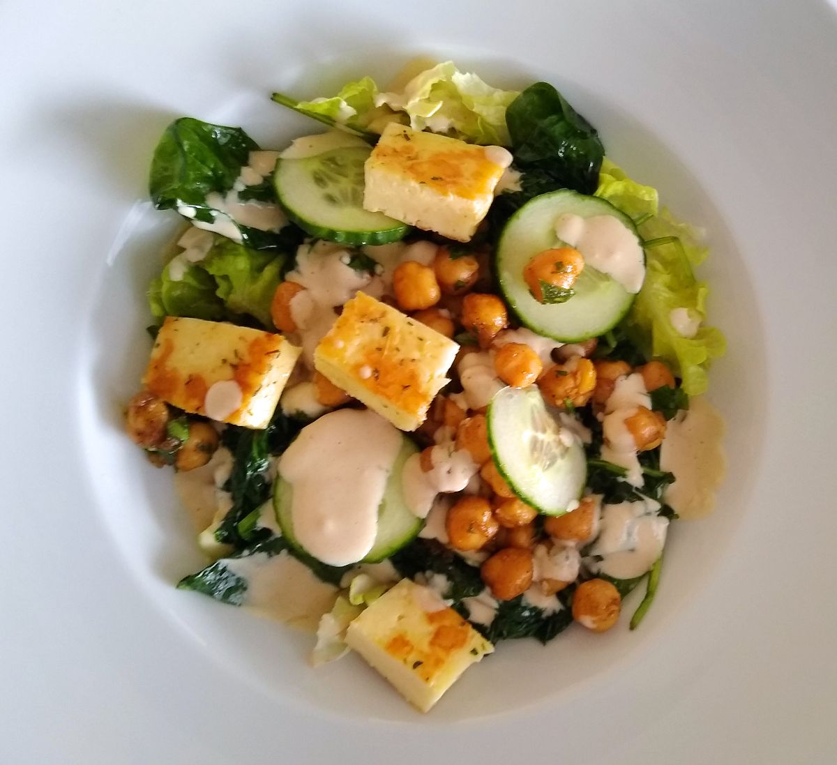 Crispy Chickpea Salad with Halloumi and Tahini Dressing