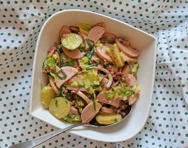 French Potato and Sausage Salad with Creamy Mustard Dressing