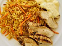 Grilled Chicken Breast with Orzo and Avgolemono Sauce