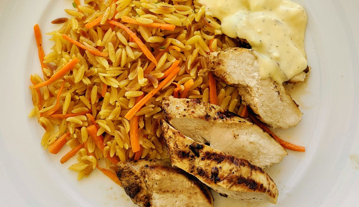Grilled Chicken Breast with Orzo and Avgolemono Sauce Recipe