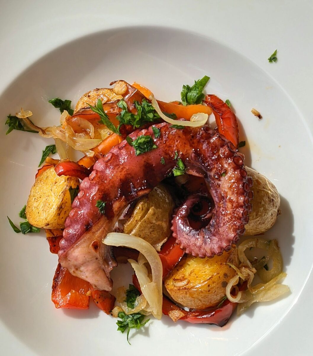 Grilled Octopus with Roasted Peppers and Potatoes Recipe