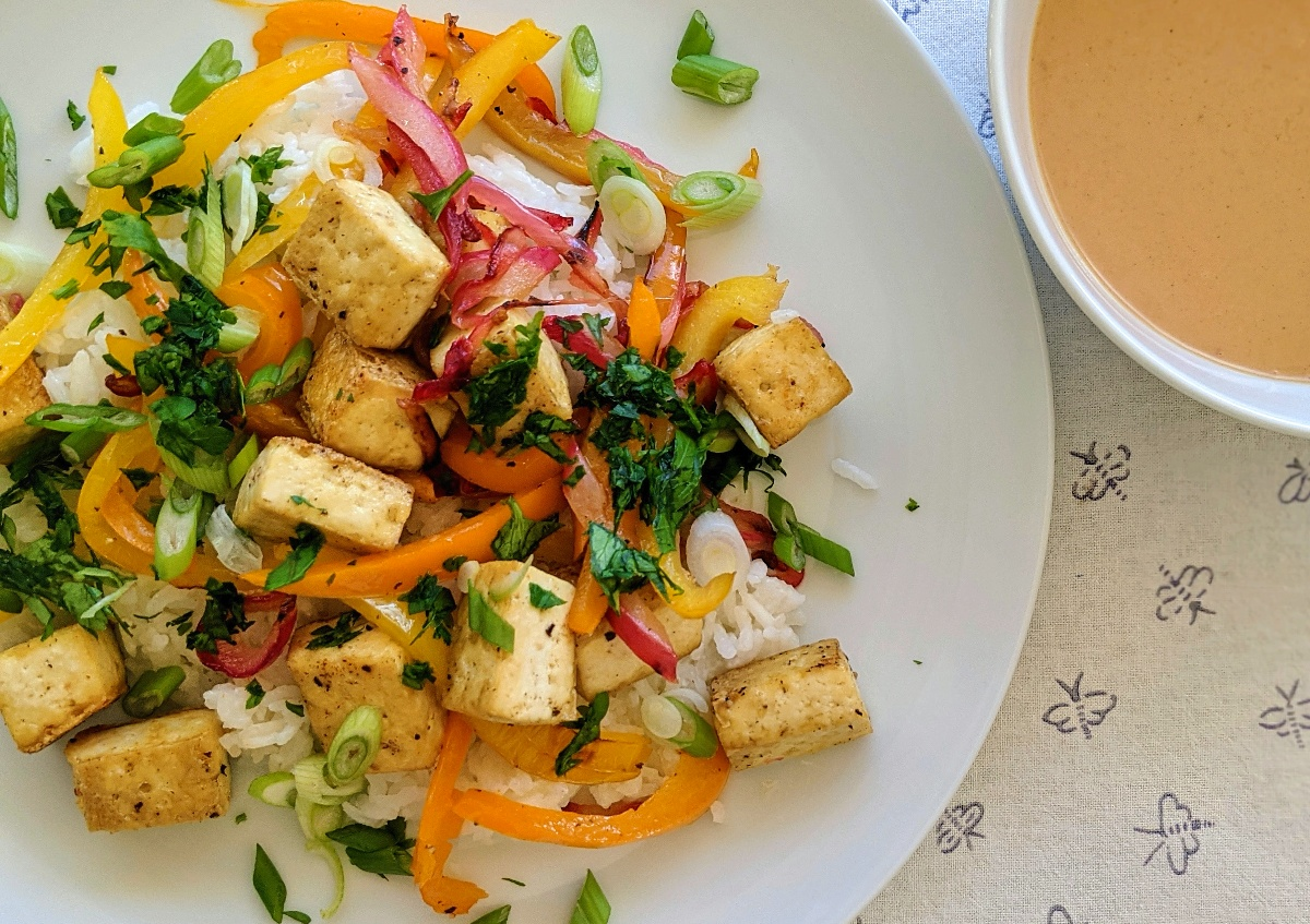 Indonesian Baked Tofu with Spicy Peanut Sauce Recipe