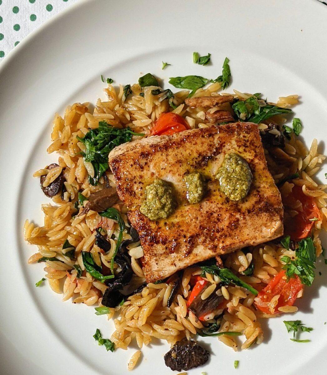 Mahi-Mahi with Spinach and Mushroom Orzo Recipe