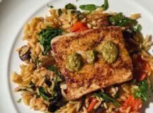 Mahi-Mahi with Spinach and Mushroom Orzo