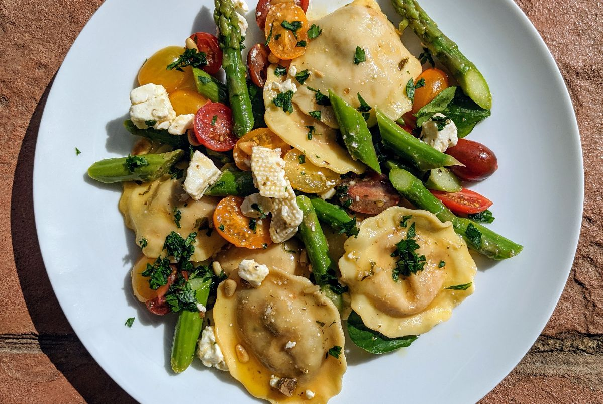 Ravioli Salad with Marinated Feta and Asparagus Recipe