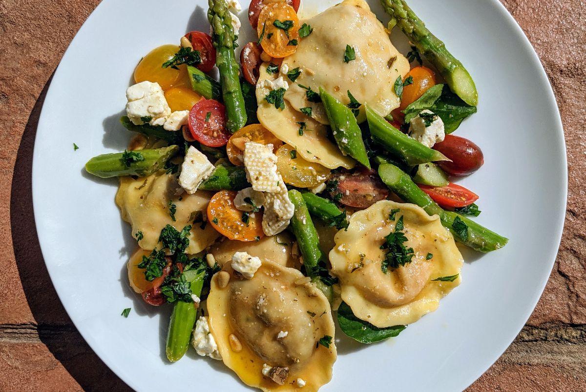 Ravioli Salad with Marinated Feta and Asparagus Recipe