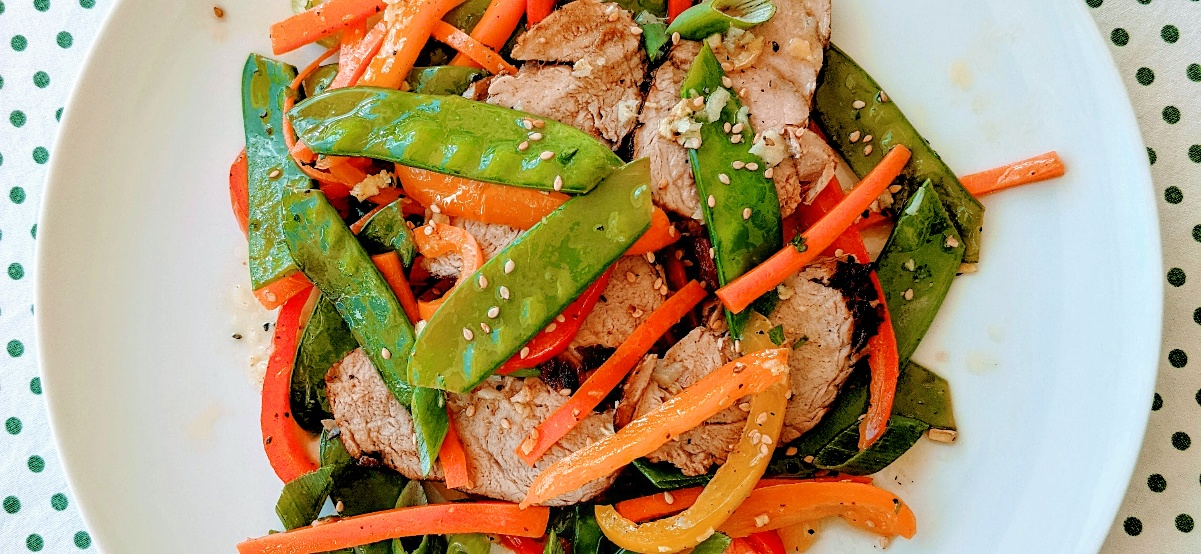 Roasted Pork Tenderloin with Stir-Fried Vegetable Salad Recipe