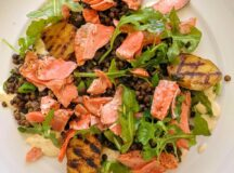 Salmon and Puy Lentil Salad with Creamy Honey Mustard Sauce