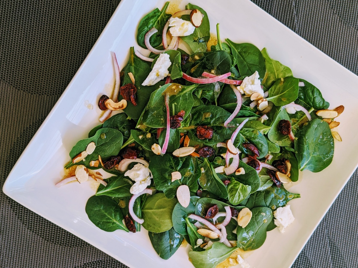 Spinach Salad with Goat Cheese, Cranberries and Balsamico Vinaigrette Recipe